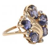 14K Lolite and Diamond Ring