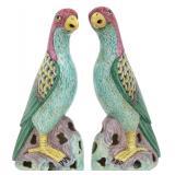 Pr. Chinese Porcelain Figural Parrots