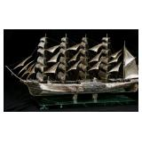 Lg. Italian Sterling Silver Model Ship