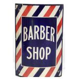 Curved Porcelain Barber Shop Corner Sign