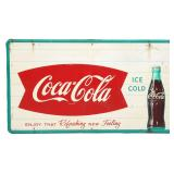 Coca-Cola Fishtail Self Framed Tin Sign