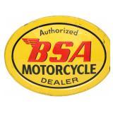 BSA Motorcycles Tin Advertising Dealer Sign