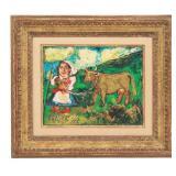 """David Burliuk O/C """"Girl Leading A Yellow Cow"""""""