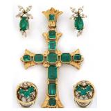 3 Pcs. 18K Gold And Emerald Jewelry