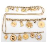 Gold Charm Bracelets and Chain