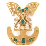 18K Gold And Emerald Brooch