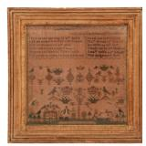 "Hand Stitched Sampler ""Judith Brown, 1918"""