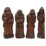 Set of 4 Carved Oak Standing Monks