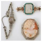 14K Gold Watch, Pin and Cameo Brooch