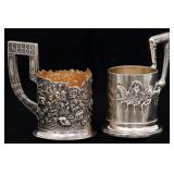 2 Russian Silver Tea Cup Holders