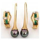 2 Prs. 18K Gold Earrings