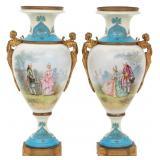 Pr. Bronze Mounted Sevres Porcelain Urns