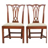 Pr. Carved 18th C. Mahogany Chippendale Sidechairs