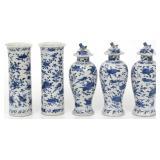 5 Pcs. Chinese Blue & White Porcelain Garniture