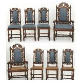 8 Pierced Carved Oak Dining Chairs