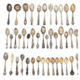 Collection Of 42 Spoons w/ Souvenir Spoons