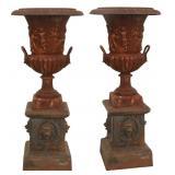 Pr. 20th C. Cast Iron Garden Urns On Pedestals