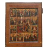 12 Panel Russian Painted Russian Icon