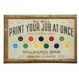 Sullmanco Inks Tin Litho Advertising Sign