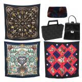 6 Pcs. 3 Designer Purses & 3 Hermes Scarves