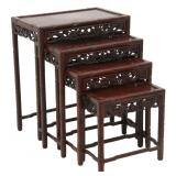 4 Chinese Carved Teak Nesting Tables