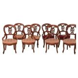 8 Carved Walnut Dining Chairs