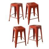 Red Finish Amerihome Loft Metal 24 Bar Stool