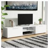 White Finish Wade Logan Rafeal Tv Stand For Tvs