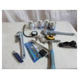 Lot Of Used Tools - Monkey Wrenches, Hammer,