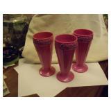 3 Vintage Pink Sundae Glasses