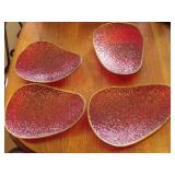 4 Decorative Cranberry Colour Dishes