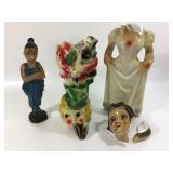 3 Damaged Mid Century Chalk-Ware Figures