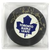 Autographed Red Kelly Puck