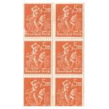 Unused 5 Deutches Reich Block Of 6 Stamps