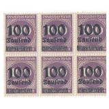 Unused 100 Deutches Reich Block Of 6 Stamps