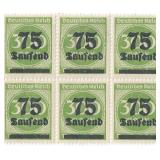 Unused 75 Deutches Reich Block Of 6 Stamps