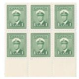 Canada Unused 1 Cent Stamps Block of 6