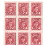 Canada Unused 4 Cent Stamps Block of 9