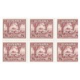 Canada Unused 8 Cent Stamps Block of 6