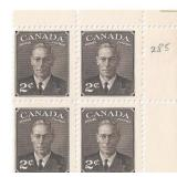 Canada Unused 2 Cent Stamps Block of 4