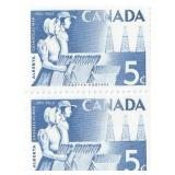 Canada Unused Block Of 2 Five Cent Stamps