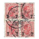 Denmark 7 Stamp Block