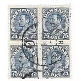 Denmark 75 Ore Stamp Block