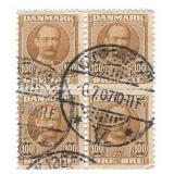 Denmark 100 Ore Stamp Block