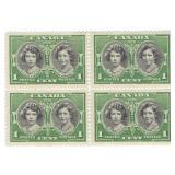 1939 Canada Block Of 4 Unused Stamps 1 Cent