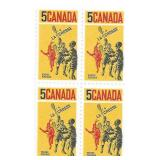 Canada Stamp Block Of 4 Unused Lacrosse