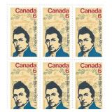 Stamp Block of 6 Unused 6 Cent Stamps (1786-1871)