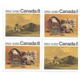 Stamp Block of 4 Unused 6 Cent Stamps (Indians of