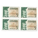 Canada Stamp Block Of 6 Unused 5 Cent Quebec