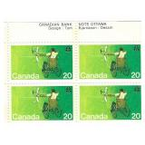 Canada Block of 20 Cent Unused Stamps